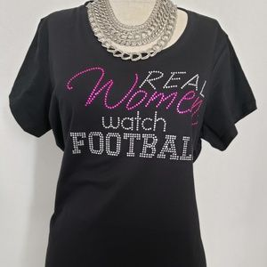 Women Football Rhinestone T shirt